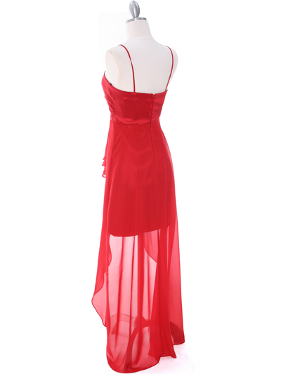 1688 Red Chiffon High Low Evening Dress - Red, Back View Medium