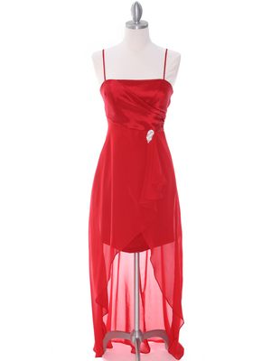 1688 Red Chiffon High Low Evening Dress, Red