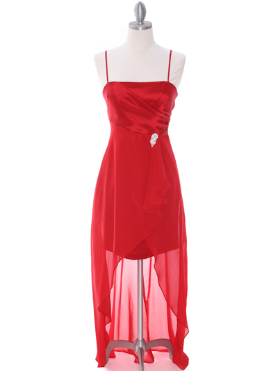 1688 Red Chiffon High Low Evening Dress - Red, Front View Medium