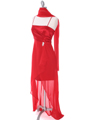 1688 Red Chiffon High Low Evening Dress - Red, Alt View Thumbnail