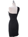 1710 One Shoulder Little Black Dress - Black, Back View Thumbnail