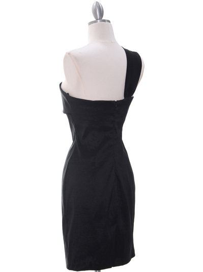 1710 One Shoulder Little Black Dress - Black, Back View Medium