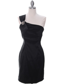 1710 One Shoulder Little Black Dress, Black