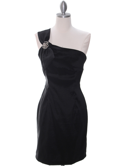 1710 One Shoulder Little Black Dress - Black, Front View Medium