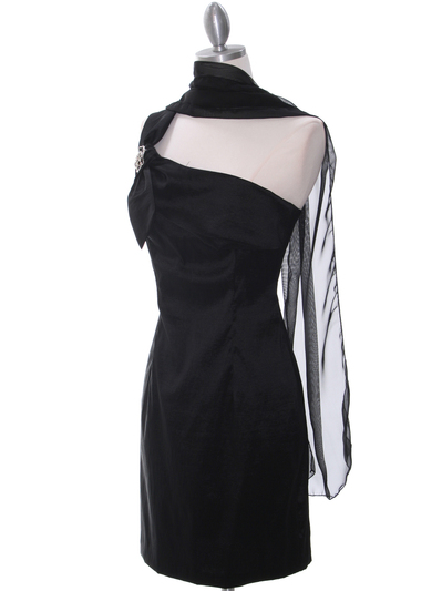 1710 One Shoulder Little Black Dress - Black, Alt View Medium