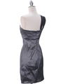1710 Charcoal One Shoulder Cocktail Dress - Charcoal, Back View Thumbnail