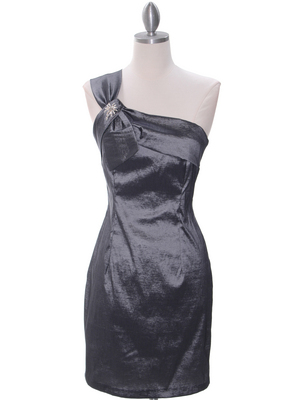 1710 Charcoal One Shoulder Cocktail Dress, Charcoal