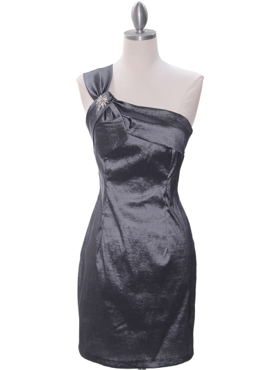 1710 Charcoal One Shoulder Cocktail Dress - Charcoal, Front View Medium
