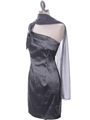 1710 Charcoal One Shoulder Cocktail Dress - Charcoal, Alt View Thumbnail