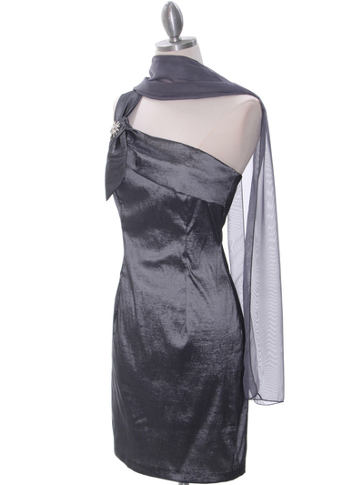 1710 Charcoal One Shoulder Cocktail Dress - Charcoal, Alt View Medium