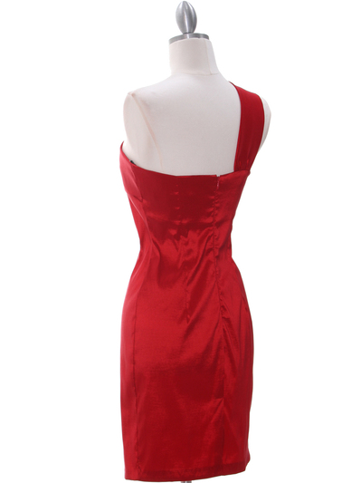 1710 Red One Shoulder Cocktail Dress - Red, Back View Medium