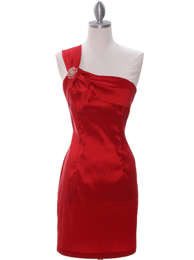 1710 Red One Shoulder Cocktail Dress - Red, Front View Medium