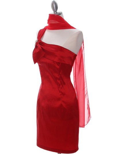 1710 Red One Shoulder Cocktail Dress - Red, Alt View Medium