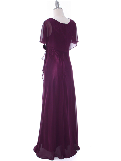 1735 Chiffon Evening Dress - Purple, Back View Medium