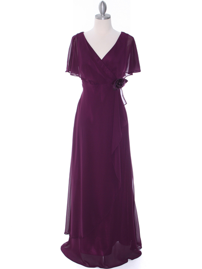 1735 Chiffon Evening Dress - Purple, Front View Medium
