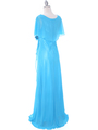 1735 Turquoise Chiffon Evening Dress - Turquoise, Back View Thumbnail