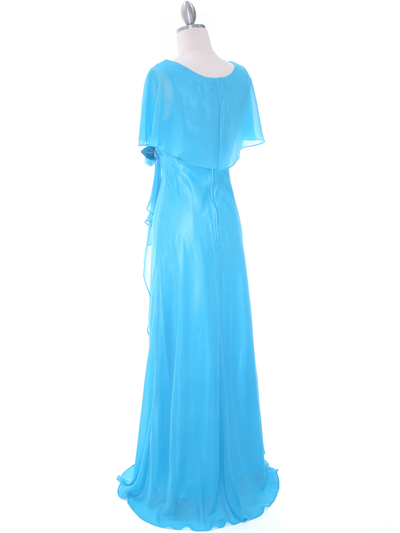 1735 Turquoise Chiffon Evening Dress - Turquoise, Back View Medium