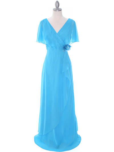 1735 Turquoise Chiffon Evening Dress - Turquoise, Front View Medium