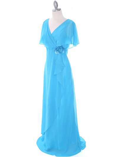 1735 Turquoise Chiffon Evening Dress - Turquoise, Alt View Medium