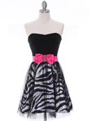 Black Zebra Print Strapless Cocktail Dress