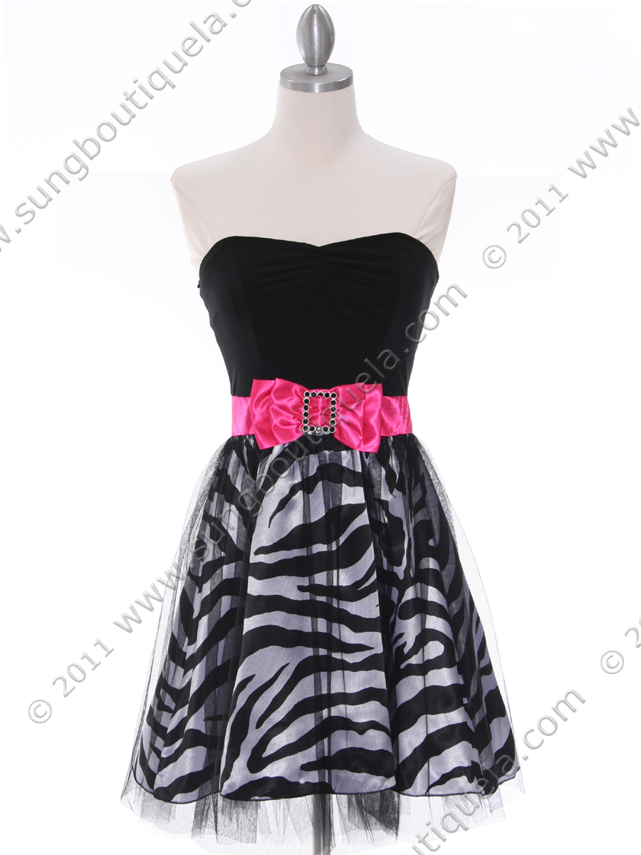 Black Zebra Print Strapless Cocktail Dress | Sung Boutique L.A.