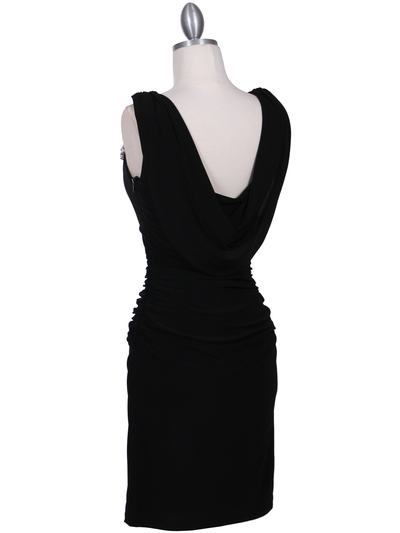 1743 Black Cocktail Dress with Rhinestone Pin - Black, Back View Medium