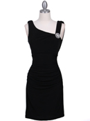 1743 Black Cocktail Dress with Rhinestone Pin, Black