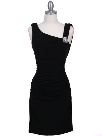 1743 Black Cocktail Dress with Rhinestone Pin - Black, Front View Medium