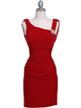 1743 Red Cocktail Dress with Rhinestone Pin - Red, Front View Thumbnail