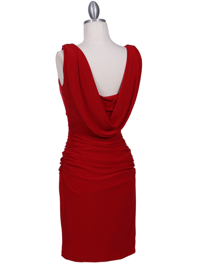 1743 Red Cocktail Dress with Rhinestone Pin - Red, Back View Medium