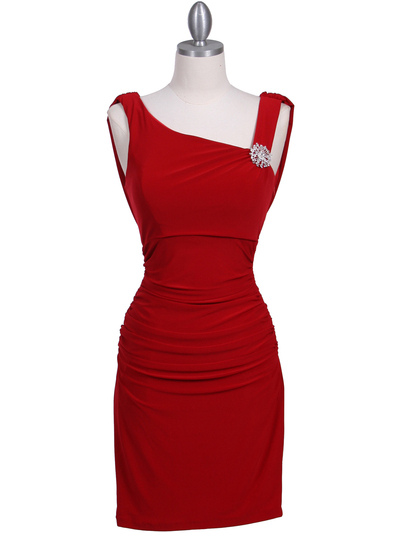 1743 Red Cocktail Dress with Rhinestone Pin - Red, Front View Medium