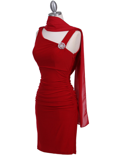 1743 Red Cocktail Dress with Rhinestone Pin - Red, Alt View Medium