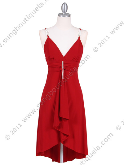 1745 Red Party Dress - Red, Front View Medium