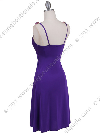 1774 Purple Party Dress - Purple, Back View Medium