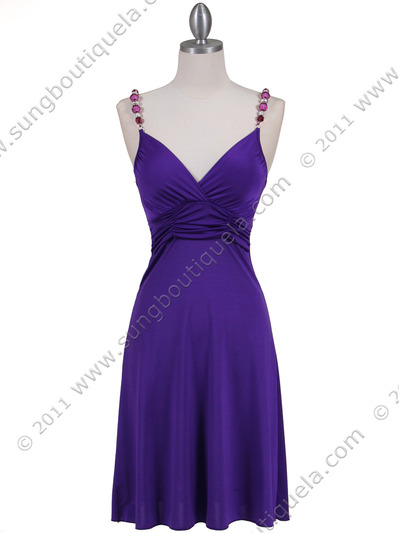 1774 Purple Party Dress - Purple, Front View Medium