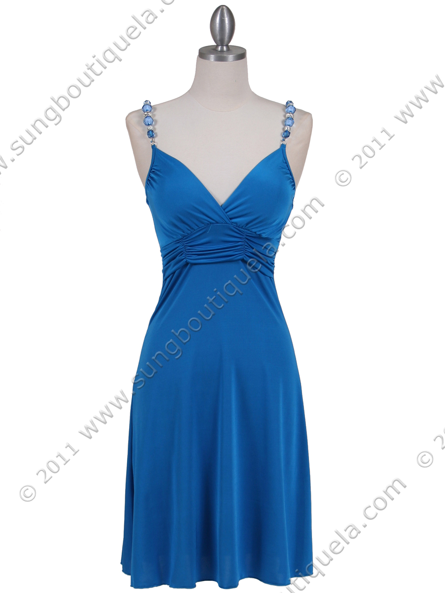 1774 Teal Blue Party Dress - Front Image