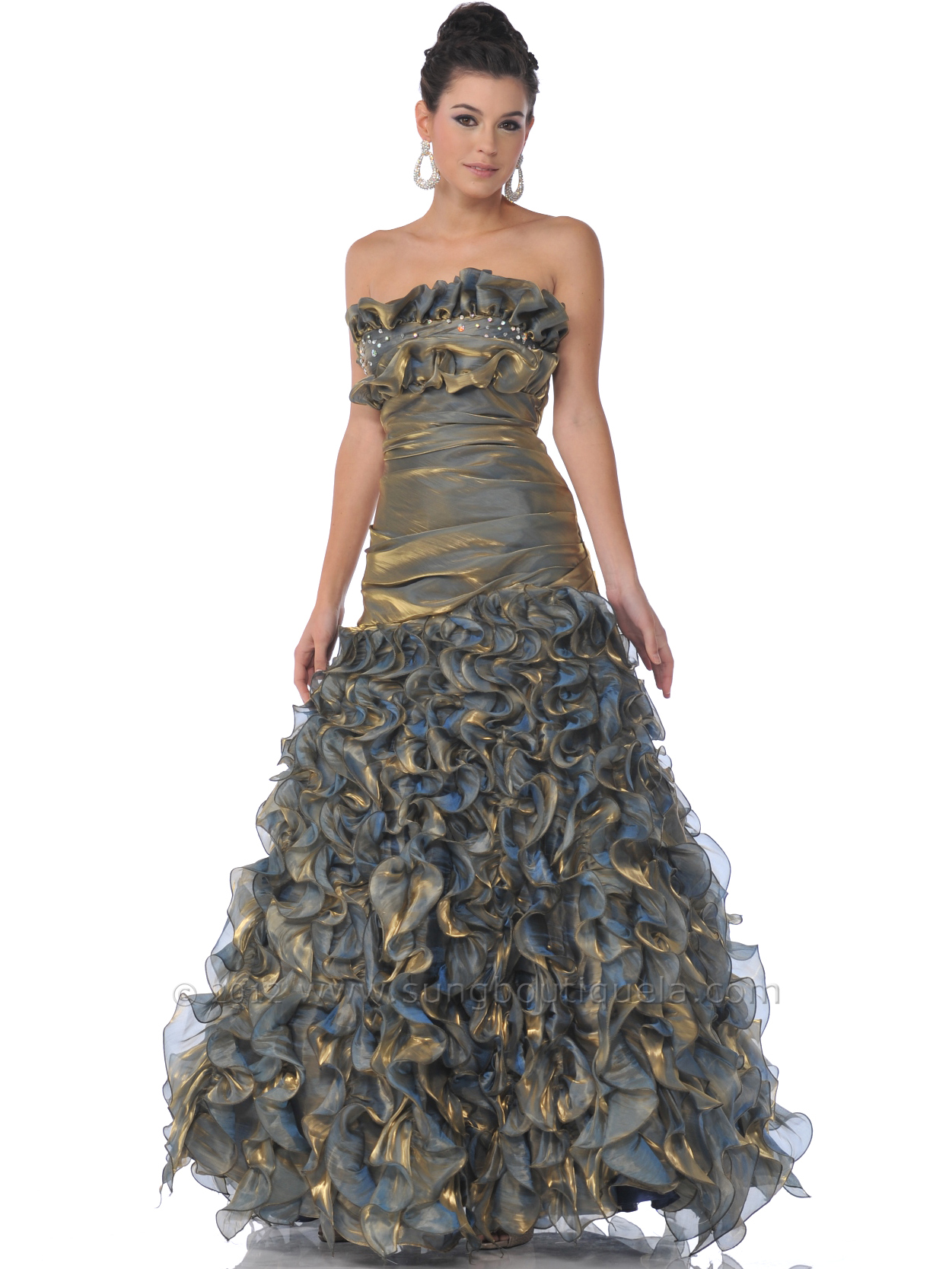 17 Gold Strapless Iridescent Ruffled Prom Dresses - Front Image