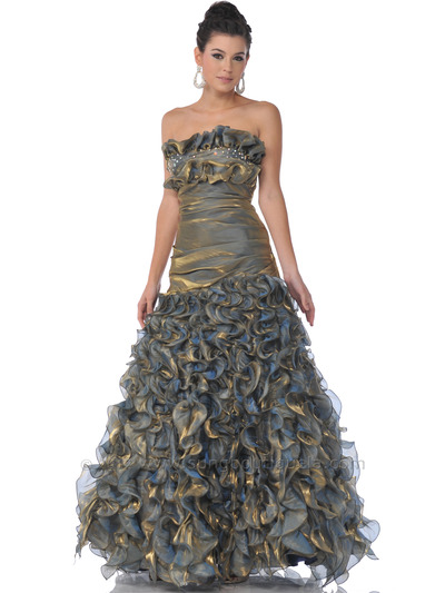17 Gold Strapless Iridescent Ruffled Prom Dresses - Gold, Front View Medium