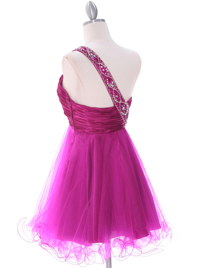 1804 Fuschia One Shoulder Cocktail Dress - Fuschia, Back View Medium