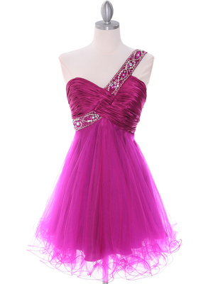 1804 Fuschia One Shoulder Cocktail Dress, Fuschia