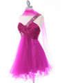 1804 Fuschia One Shoulder Cocktail Dress - Fuschia, Alt View Thumbnail