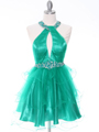 1806 Green Halter Cocktail Dress With Keyhole