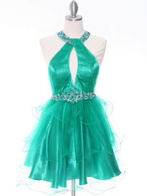 1806 Green Halter Cocktail Dress With Keyhole, Green