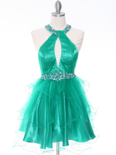 1806 Green Halter Cocktail Dress With Keyhole - Green, Front View Medium