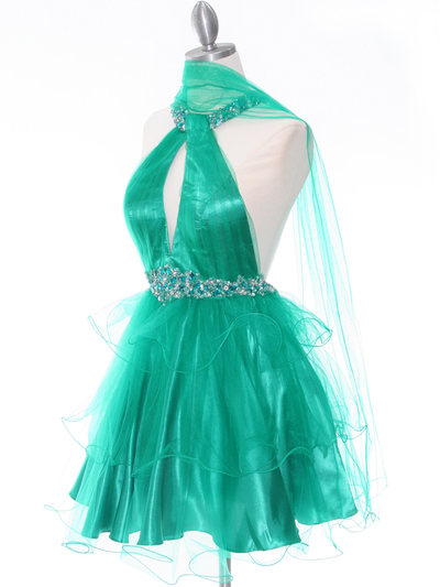 1806 Green Halter Cocktail Dress With Keyhole - Green, Alt View Medium