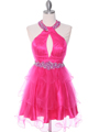 1806 Hot Pink Halter Cocktail Dress With Keyhole - Hot Pink, Front View Thumbnail