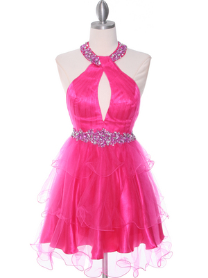 1806 Hot Pink Halter Cocktail Dress With Keyhole, Hot Pink
