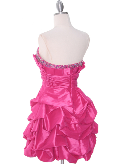 1807 Hot Pink Homecoming Dress - Hot Pink, Back View Medium