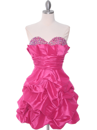 1807 Hot Pink Homecoming Dress - Hot Pink, Front View Medium