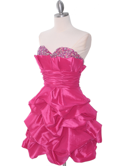 1807 Hot Pink Homecoming Dress - Hot Pink, Alt View Medium